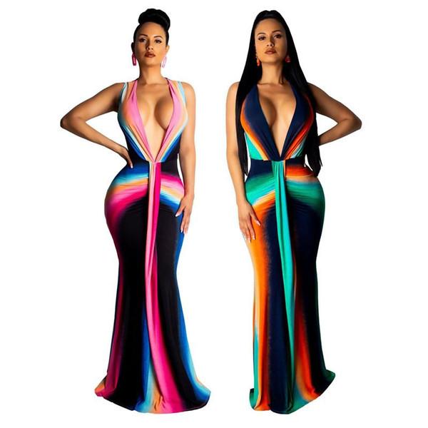 Coloré Tie Dye Imprimer Sexy Plus Size Dress Femmes Deep Neck Neck taille haute sirène robe Élégant sans manches Maxi Club Party Dress NB-1459