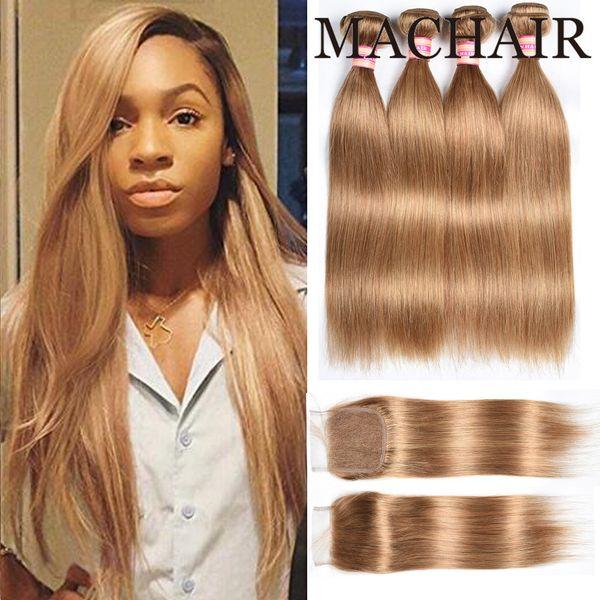 Honey Blonde 27 # Body Wave Paquetes de cabello recto con cierre Paquetes de armadura de cabello brasileña con cierre Cabello humano con cierre