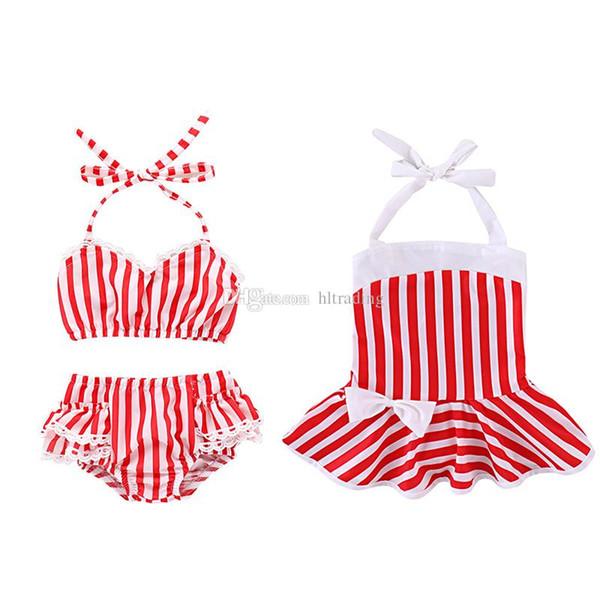 Baby Mädchen rot weißen Streifen drucken Bademode 2019 Sommer Mode Kinder Bikinis Kinder Badeanzug C6038