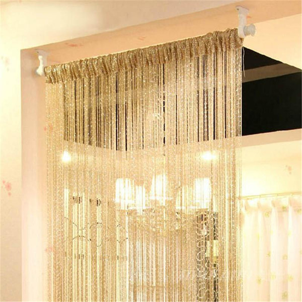 2019 200cm X 100cm Vogue Curtain Silver Silk Tassel String Door Window  Living Room Divider Curtains Valance TQ From Newcute, $39.81 | DHgate.Com