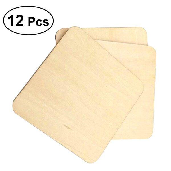 Coupe en bois Coaster Square Simple support de coupe résistant à la chaleur Pad Pad Café solide support de bol à thé Pad 12pcs 10x10cm