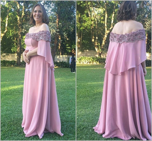 2019 Pink Mother Of The Bride Dresses Off The Shoulder Chiffon 3D Floral Appliques Beaded Wedding Guest Evening Gowns Plus Size Customized