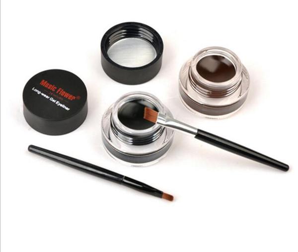 Music Flower Black + Brown Two-color Gel Eyeliner Smudge- Proof & Water Proof Eye Liner Eye Liner Eyeliner Gel Makeup Cosmetic + Brush M007