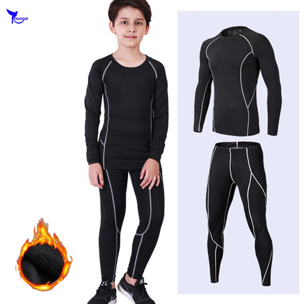 Thermal Fleece Kids Boys Compression Running Set 2 Pcs Long Sleeve Shirt+Leggings Child Sports Suit Fitness Gym Tights Clothing