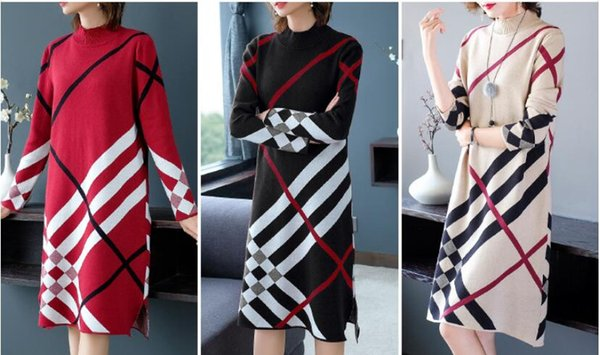 Women's Loose Knits Tees Long Sleeve Party Long Dress Ladies Sexy Striped Clubwear Casual Dresses