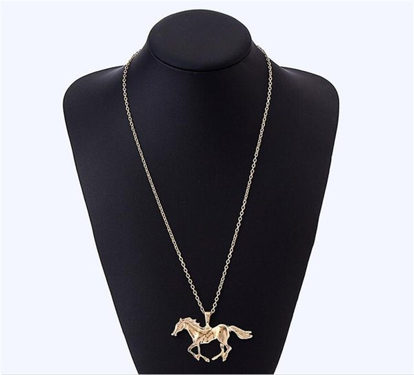 Fashion Jewelry Horse Pendant Necklaces For Women Girl Gold Silver Plated Long Chain Sweater Necklace Animal Pendants Jewelry