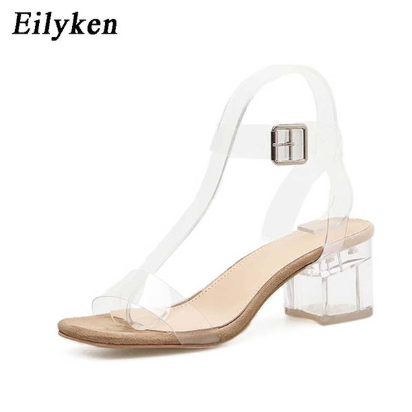 wholesale 2019 PVC Jelly Sandals Crystal Leopard Open Toed High Heels Women Transparent Heel Sandals Slippers Square heel