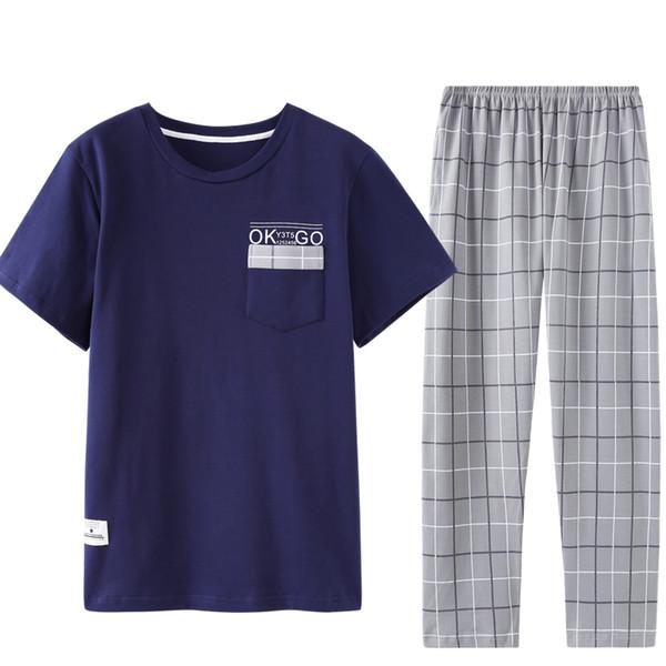 79c8ce7e2be6d5 Compre Chegada Nova Verão 100% Algodão Mens Pijama Set Tops Curto + Calças  Compridas Pijamas Em Torno Do Pescoço Plus Size Casuais Plus Size L 3XL ...