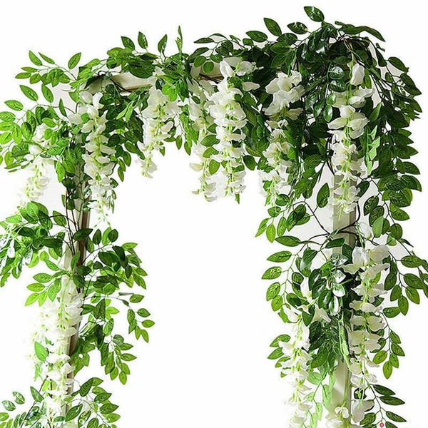 2M Artificial Flowers String Simulation Wisteria Vine Rattan Garland Plants Foliage For Garden Home Outdoor Wedding Decoration