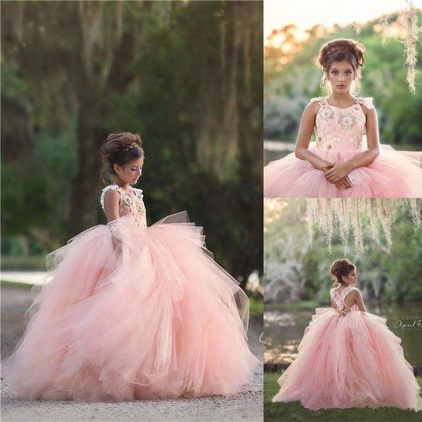 Robes de filles de belle fleur rose princesse filles Pageant robes robe de bal Appliques enfants formel robes robe de bal d'anniversaire Z99