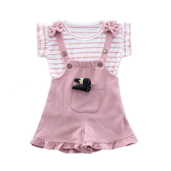 Nuevo verano de los bebés Ropa para niños de rayas camiseta conejo de dibujos animados de la correa de los cortocircuitos 2pcs / juegos infantil juego ropa de moda de los niños