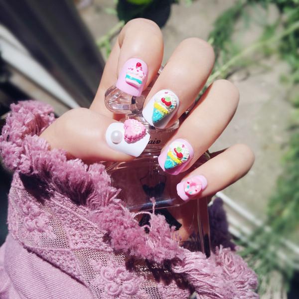 impress 24Pcs Pink Bears Fake Cute Kawaii Short False Acrylic Impress Nails Nail Art Supply with Glue Sticker Christmas gift