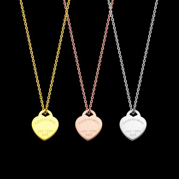 Mode Colliers Pendentif amour en forme de coeur en acier titane pour les femmes rose bijoux collier en chaîne d'argent or dame gros cadeau Accessoires