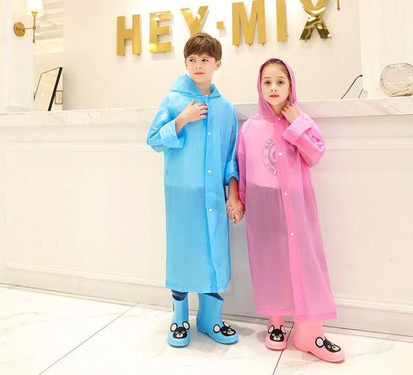 EVA Transparent Fashion Frosted Child Raincoat Girl And Boy Rainwear Outdoor Hiking Travel Rain Coat For Children