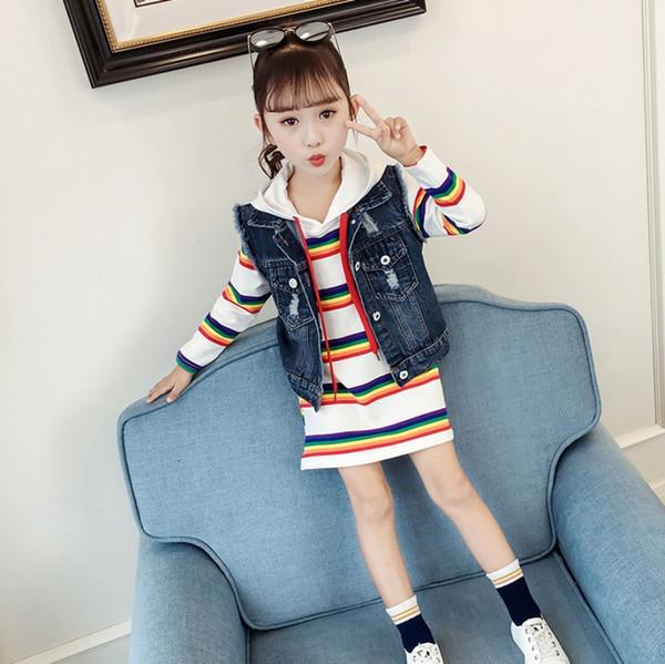 Meninas na seção longa camisola colete denim de duas peças 2019 primavera versão coreana do grande menino moda casual terno maré