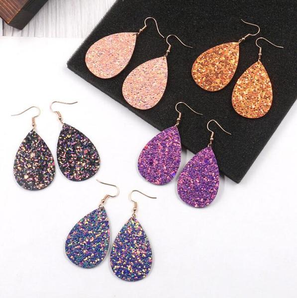 Orecchini in pelle shinny in glitter con semplici orecchini a bottone semplici in stile europeo e americano Orecchini a goccia in pelle da donna