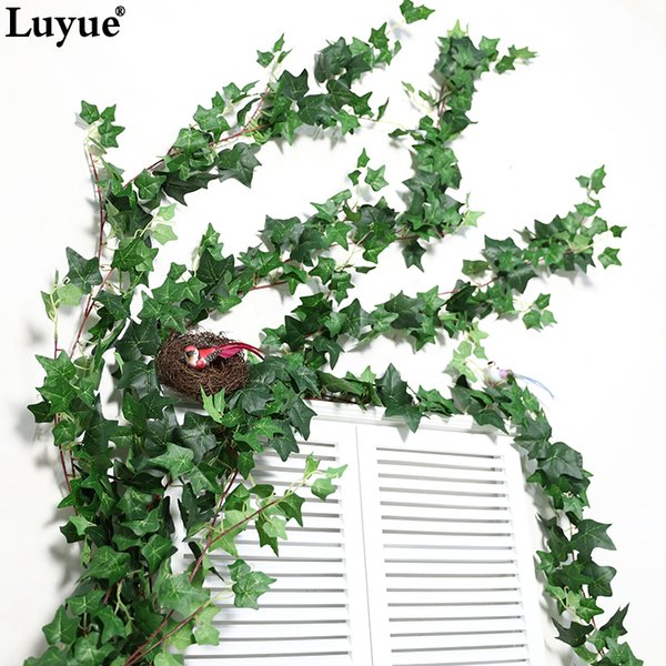 Cheap Artificial & Dried Flowers 190 CM Length Artificial Ivy Leaves Garland Wall Hanging Home decor Simulation Plants Vine Fake