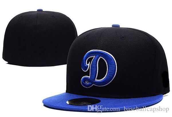 Toptan Klasik LA Beyzbol Işlemeli Takım içinde Donatılmış Ekibi Mektup D Düz Ağız Şapka Beyzbol Boyutu Erkekler Kadınlar Için Markalar Spor Chapéu Caps