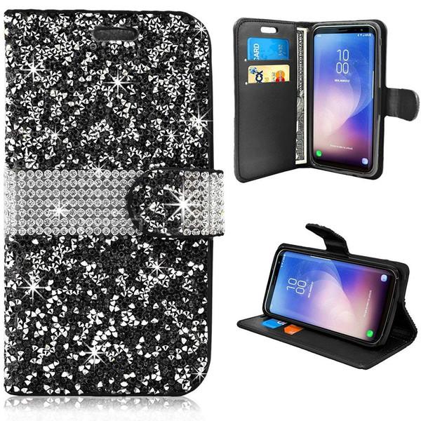 for Samsung S8 Plus J3 J7 Prime Note 8 Leather Card Slot Diamond Rhinestone Crystal Bling Glitter Magnetic Closure Flip Folio Wallet Case