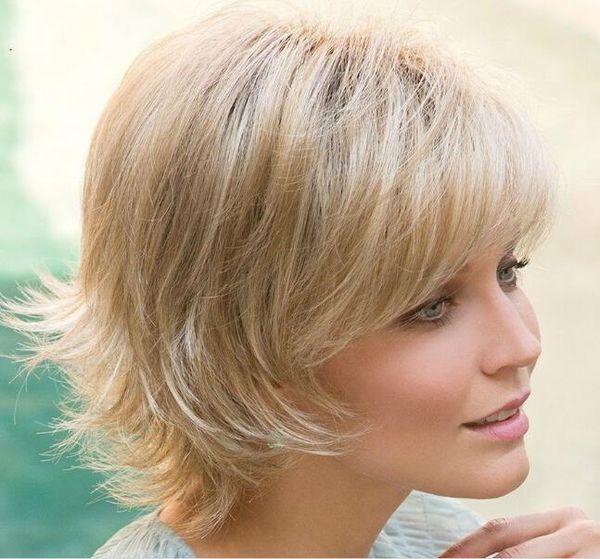Großhandel Alice Womens Brown Natürliche Kurze Haare Lockige Perücken Weibliche Hitzebeständige Hochtemperaturdraht Faserhaar Styling Blonde Perücke