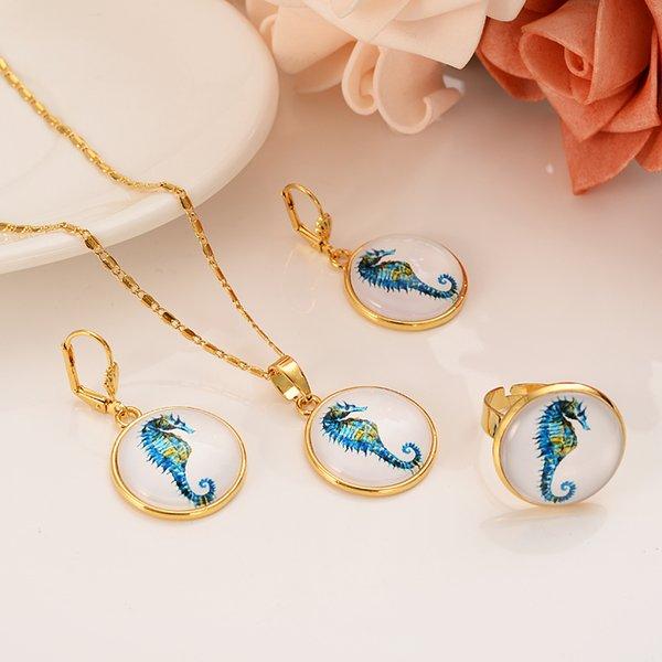 Новый 2019 дубай индия позолоченные ювелирные кристалл морской конек свадьба обручальное комплект ювелирных изделий ну вечеринку ювелирные изделия компаньон подарок