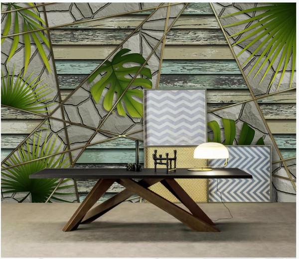 Sob encomenda da foto papéis de parede 3d murais papel de parede 3D paisagem idílica paisagem floresta tropical planta moderna parede de pedra geométrica fundo papel de parede