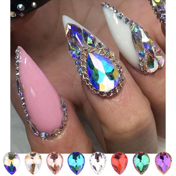 Compre 10 Piezas De Cristales De Uñas Piedras Flatback Drop Ab Rhinestones Gemas De Uñas 3d Para Decoraciones De Uñas Nuevas Llega Suministros A 155