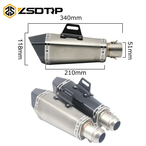 ZSDTRP 51mm Motorcycle Universal Stainless Steel Muffler Slip On Exhaust Akrapovic Exhaust Escape For Most 51mm Motorcycle