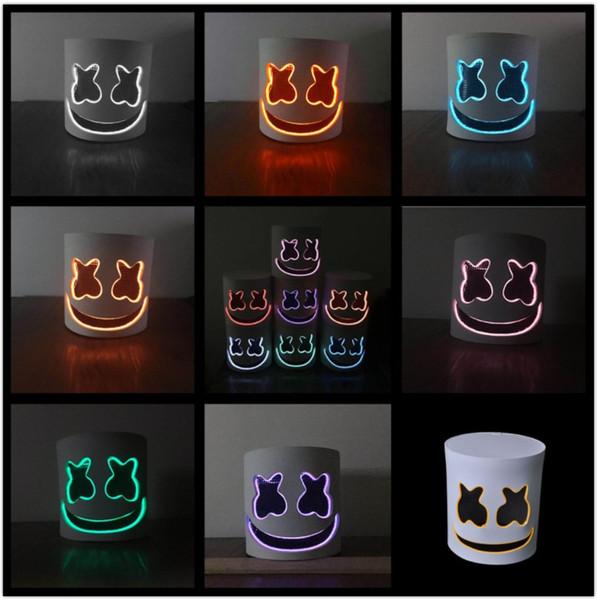 LED DJ marshmello máscara de Halloween do Dia Das Bruxas Cosplay Chapelaria Bar Music helmet Adereços muitas cores luzes atacado Máscaras EVS