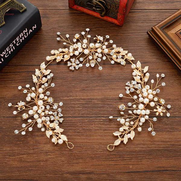 Granos de cristal blanco Diadema Novia Hoja de oro Flor de la perla Tiara del casco Tiara Boda Nupcial Joyería Del Pelo Accesorios LB