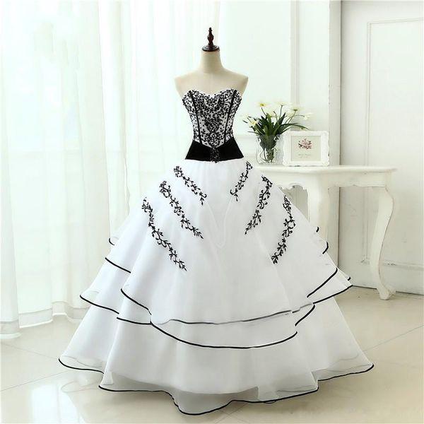 Robe de mariée gothique noire et blanche avec couleur Vintage robe de bal brodée à plusieurs niveaux princesse robes de mariée colorées faites sur commande en ligne
