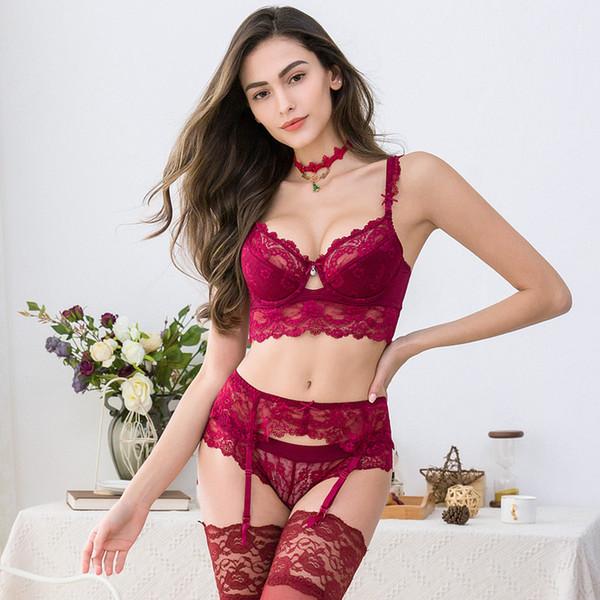 Damen Spitze Diamant Unterwäsche dünne Baumwolle sexy Bequemer atmungsaktiver BH Set BH + Slip + Strumpfband Weihnachten 3 Stück / Lots rot balck weiß
