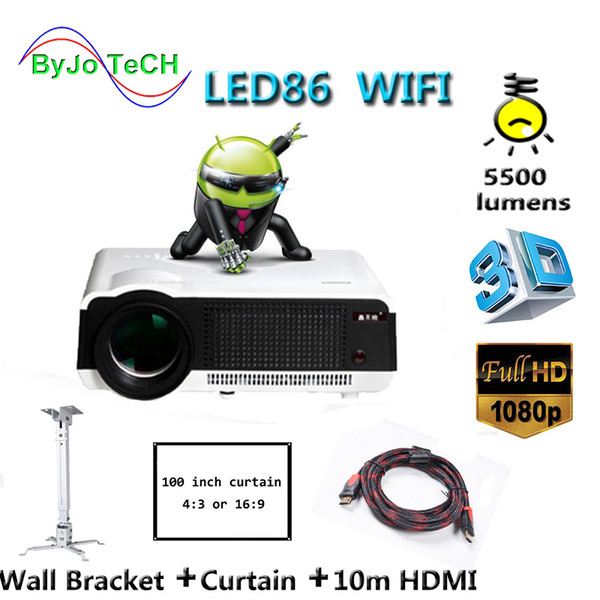 best selling LED86 wifi led projector Android 4.4.2 HD LED 3D Smart Projector 5500 lumens 1080p HDMI Video Multi screen Home Cinema