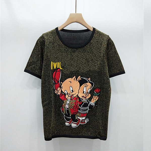 2019 Summer Two Only Piglet Pattern Thin Money Exceed Fine Gold Thread Knitting Short Sleeve Sweater Female Good Quality No Tieat