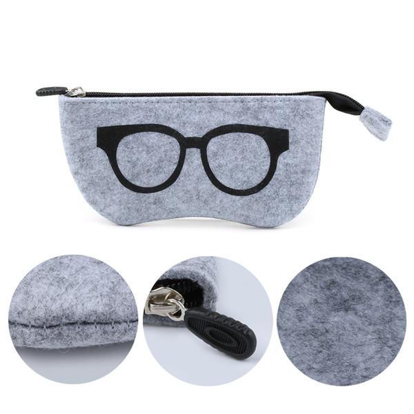 1PC Hot Portable Solid Zipper Eye Glasses Sunglasses Case Pouch Bag Box Storage Protector Felt Box Fashion Eyewear Accessories