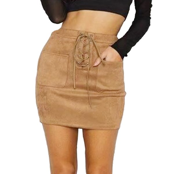 182e0ca0b Women Short Lace Up Leather Pencil Bandage Suede Skirt High Waist Bodycon