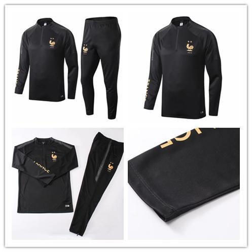 best selling 2 STAR Maillot de Foot survetement Homme football tracksuit 2018 2019 fr MBAPPE POGBA GRIEZMANN soccer jacket training suit