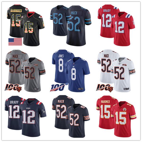 Männer Bär 52 Khalil Mack Trikots Chef 15 Patrick Mahomes Patriot 12 Tom Brady Riesen 8 Daniel Jones 100 Vapor begrenzte Fußball Jersey