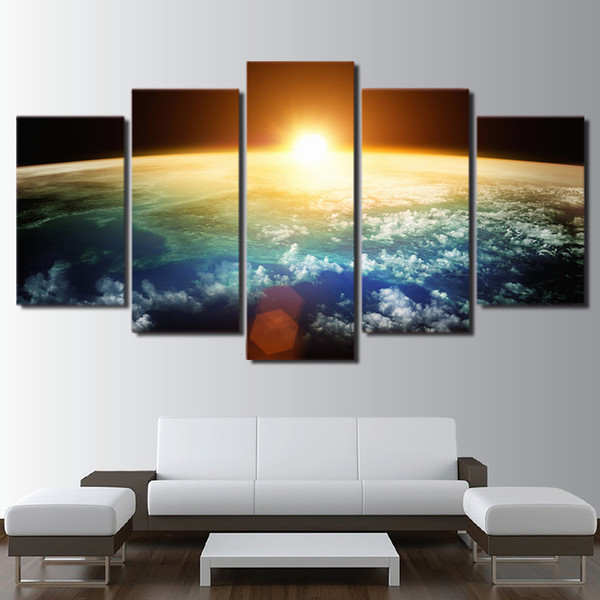 Wall Art Pictures Home Decor Living Room HD Prints 5 Piece Sun Rising Over Earth Poster Universe Space Canvas Painting Framework