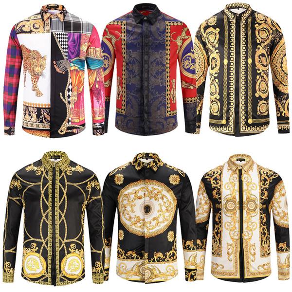 best selling 10 Pcs Lot DHL free shipping New Medusa Casual Shirt Men Slim Fit Shirts Fashion Casual Dress Shirts Men Designs shirts