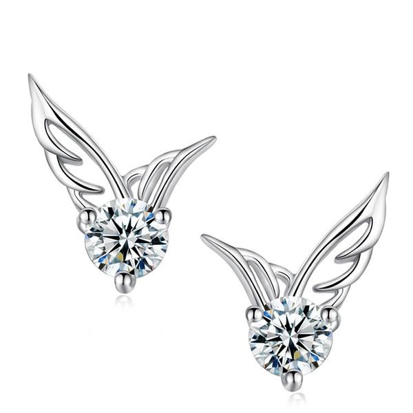 Wing Pattern Earrings Sterling Silver Stud Jewelry Wholesale Zircon Earrings with box