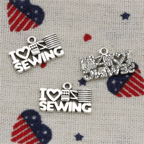 192pcs Charms I love sewing 20*12mm Pendant, Tibetan Silver Pendant,For DIY Necklace & Bracelets Jewelry Accessories