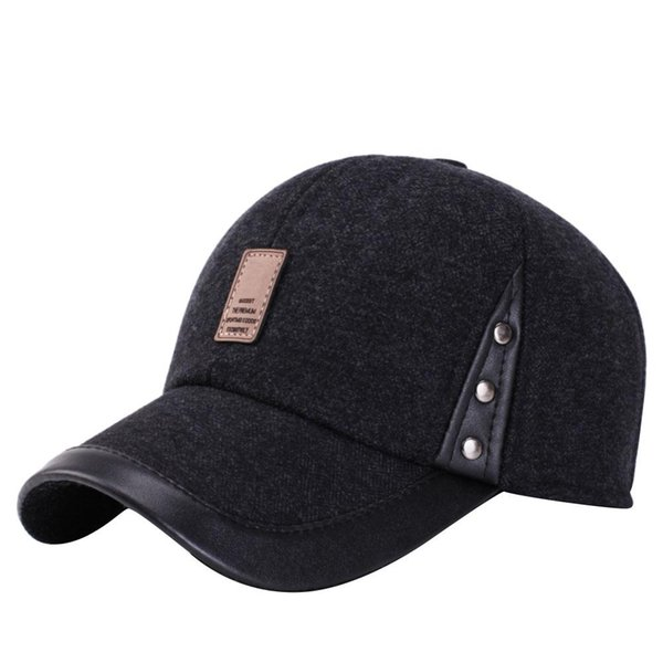 Hat Men's Winter Baseball Cap Dad Hat Middle-Aged Warm Padded Grandfather Old Man Cap