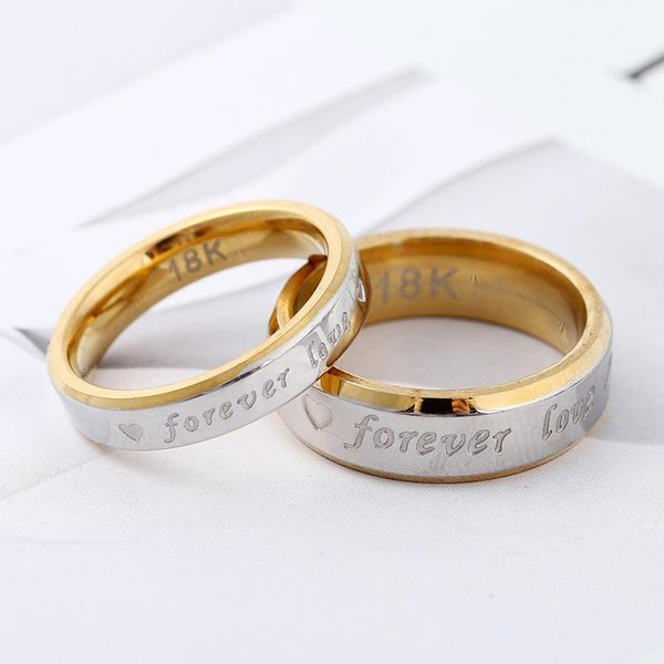 Factory cheap wholesale stainless steel ring 316L titanium steel unisex ring forever love heart engraved wedding engagement jewelry