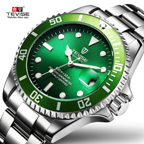 Tevise Green Watch Men Automatic Mechanical Anti-scratch Rotatable Outer Ring Waterproof Luminous Mens Watches Top Brand Luxury J190614