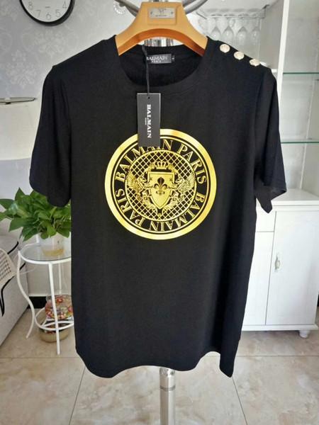 Balmain Erkek Tasarımcı T Shirt Moda Siyah Beyaz Kısa Kollu Lüks Tasarımcı T Gömlek Boyutu S-XXL