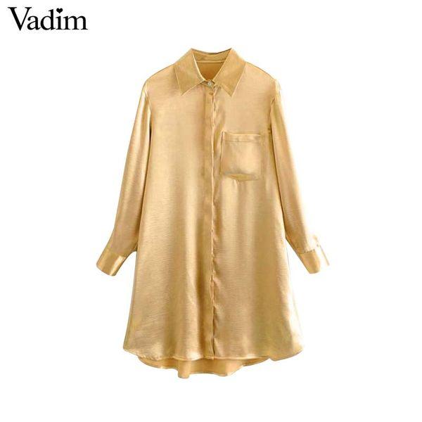 maoku / Vadim mulheres sólido longo blusa bolsos design assimétrico camisas de manga longa fêmea reta casual tops blusas LA608