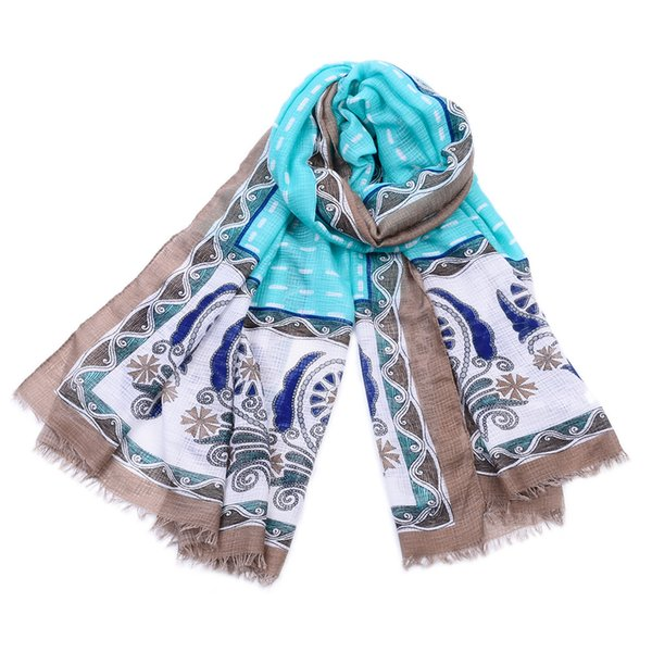 Guttavalli Women New Nation Trend Striped Long Scarf Spring Floral Shawl Lady Chevron Floral Soft Geometric Fringes Scarves