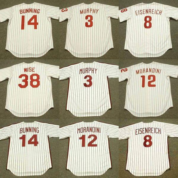 Homens 38 RICK WISE 3 DALE MURPHY 8 Jim Eisenreich 12 Mickey Morandini 14 Jim Bunning Philadelphia 1976 Baseball Jersey