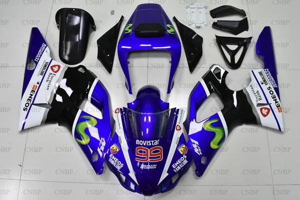 Kits de cuerpo entero YZF1000 R1 1998 YZF R1 1998 - 1999 Carenado de ABS azul blanco negro YZF1000 Carenado de motocicleta